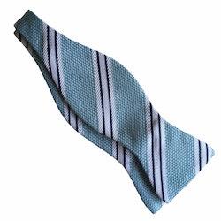 Regimental Grenadine Bow Tie - Turquoise/White/Navy Blue