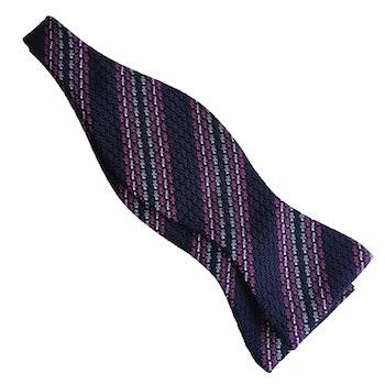 Regimental Grenadine Bow Tie - Navy Blue/Pink/White