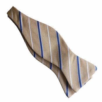 Regimental Grenadine Bow Tie - Yellow/Light Blue/White