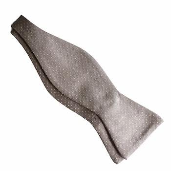 Pin Dot Silk Bow Tie - Champagne/Beige/White