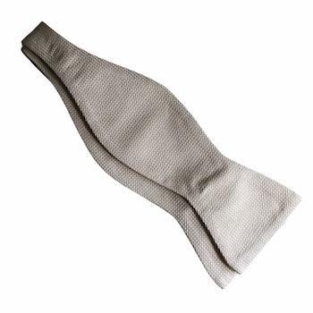 Textured Silk Bow Tie - Champagne/Beige