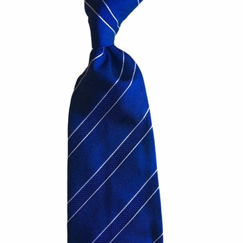 Regimental Silk Tie - Untipped - Mid Blue/White