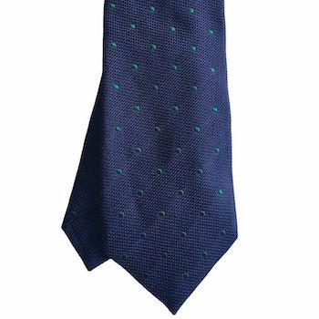 Polka Dot Garza Silk Tie - Navy Blue/Brown/Purple/Lilac