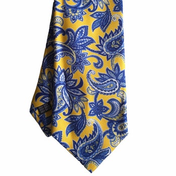 Paisley Printed Silk Tie - Yellow/Light Blue