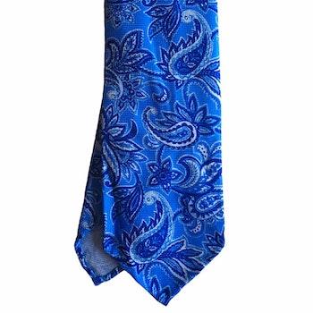Paisley Printed Silk Tie - Untipped - Light Blue/Navy Blue