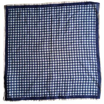 Check Linen Pocket Square - Navy Blue/White