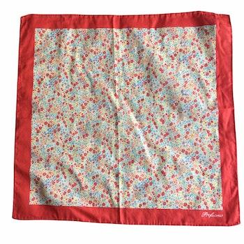 Floral Cotton Pocket Square - Apricot/Orange/Light Blue/White