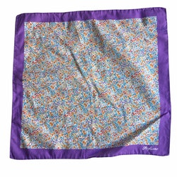 Floral Cotton Pocket Square - Purple/Orange/Light Blue/White