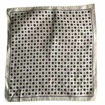 Floral Silk/Cotton Pocket Square - Citrus/Navy Blue