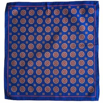 Medallion Silk/Cotton Pocket Square - Royal Blue/Red/Apricot