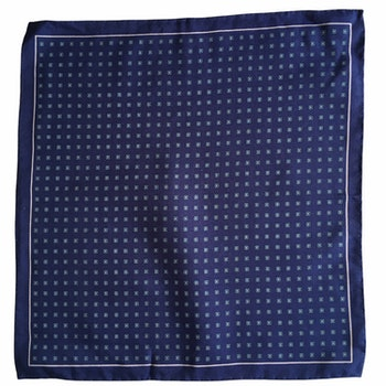 Floral Silk/Cotton Pocket Square - Navy Blue/Light Blue/White