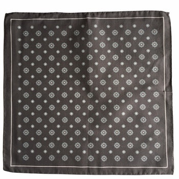 Large Floral Silk/Cotton Pocket Square - Grey/White