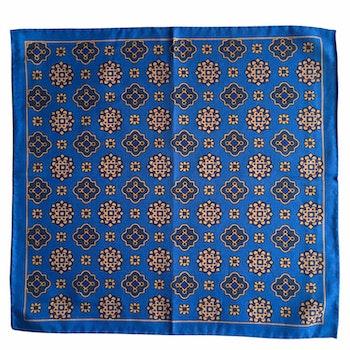 Medallion Silk/Cotton Pocket Square - Light Blue/Beige