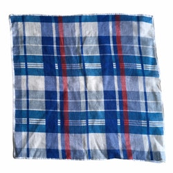 Plaid Linen Pocket Square - Navy Blue/Light Blue/Red/White