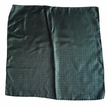 Micro Printed Silk Pocket Square - Dark Green/Navy Blue/Red