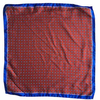 Floral Printed Silk Pocket Square - Orange/Light Blue