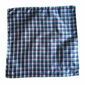 Check Silk Pocket Square - Grey/Light Blue/Turquoise