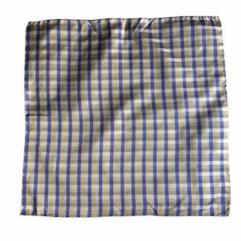 Check Silk Pocket Square - Grey/Light Blue/Yellow