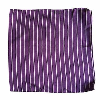 Striped Silk Pocket Square - Purple/White