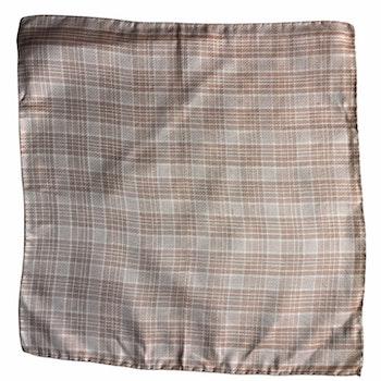 Plaid Silk Pocket Square - Caramel/Beige/White