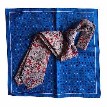 Kit - Printed cotton/linen tie and silk/cotton pocket square - Burgundy/Light Blue