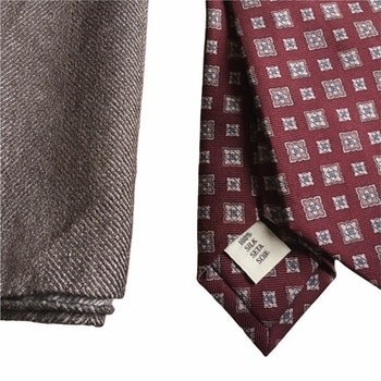 Kit - Printed silk tie and pocket square - Burgundy/Brown
