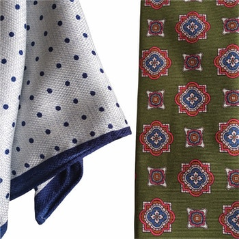 Kit - Printed silk tie and pocket square - Green/Light Blue