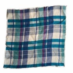 Plaid Linen Pocket Square - Navy Blue/Turquoise/Purple/White