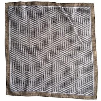 Hexagon Linen Pocket Square - Beige/White