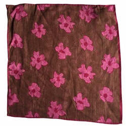 Floral Linen Pocket Square - Brown/Pink