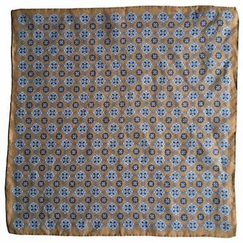 Medallion Linen Pocket Square - Beige/Light Blue