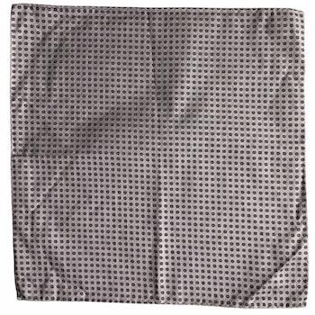 Small Floral Silk/Cotton Pocket Square - Purple/Navy Blue