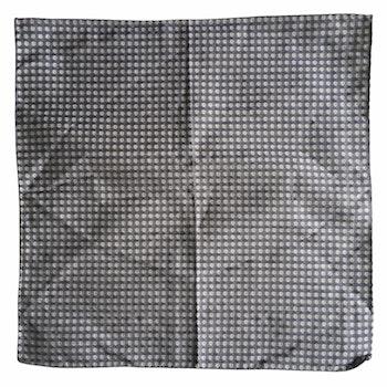 Small Floral Silk/Cotton Pocket Square - Grey/White