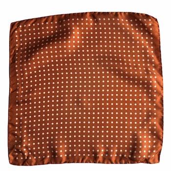 Polka Dot Silk Pocket Square - Orange/White