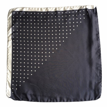Polka Dot / Solid Silk Pocket Square - Grey/White