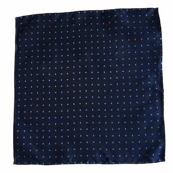 Micro Print Silk Pocket Square - Navy Blue/Light Blue