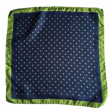 Polka Dot Silk Pocket Square - Navy Blue/Green