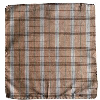 Plaid Silk Pocket Square - Orange/Beige/Turquoise