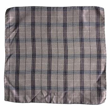 Plaid Silk Pocket Square - Light Purple/Grey