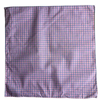 Small Check Cotton Pocket Square - Light Blue/Pink/White