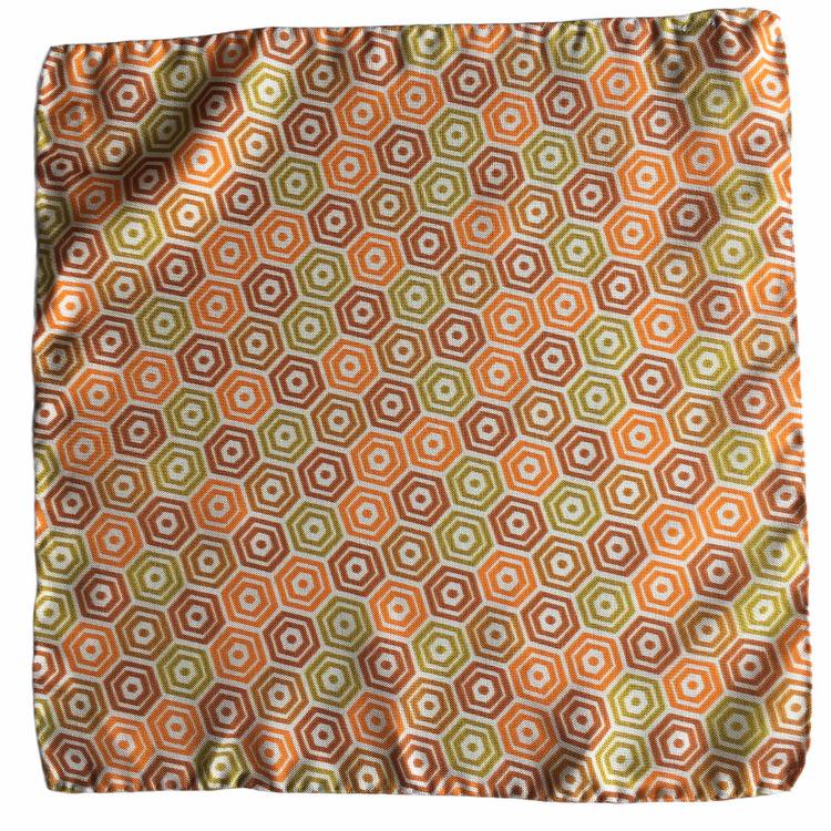 Angolo Vintage Silk Pocket Square - Vintage - Orange/Yellow/Green