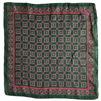 Medallion Linen Pocket Square - Green/Pink