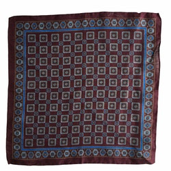 Medallion Linen Pocket Square - Burgundy/Light Blue