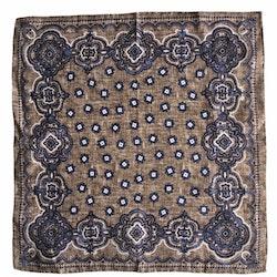 Medallion Linen Pocket Square - Beige/Navy Blue