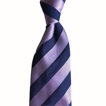 Regimental rep Silk Tie - Pink/Navy Blue