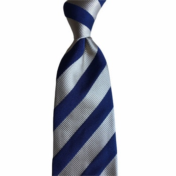 Regimental rep Silk Tie - Beige/Navy Blue