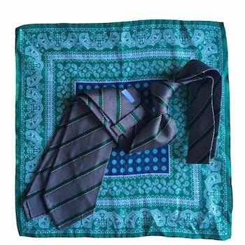 Kit - Regimental Grenadine tie and oriental linen pocket square - Green/Grey/Navy Blue