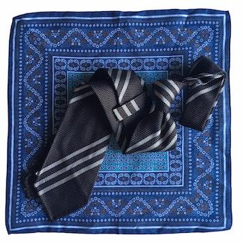 Kit - Regimental Grenadine tie and oriental linen pocket square - Brown/Cream/Navy Blue
