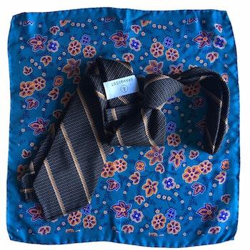 Kit - Regimental silk tie and floral silk pocket square - Brown/Orange/Turquoise