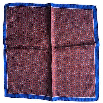 Small Paisley Printed Silk Pocket Square - Orange/Light Blue
